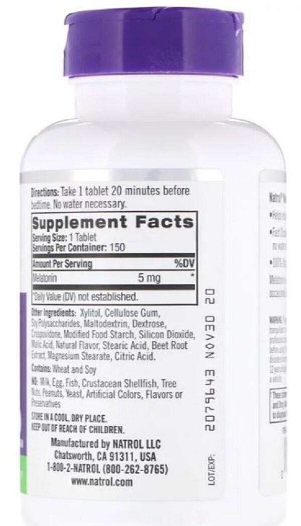 Melatonina 5 mg Fast Dissolve sublingual Sabor Morango - Natrol - 150 comprimidos