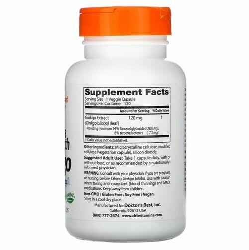 Ginkgo biloba 120 mg - Doctor´s Best - 120 tablets