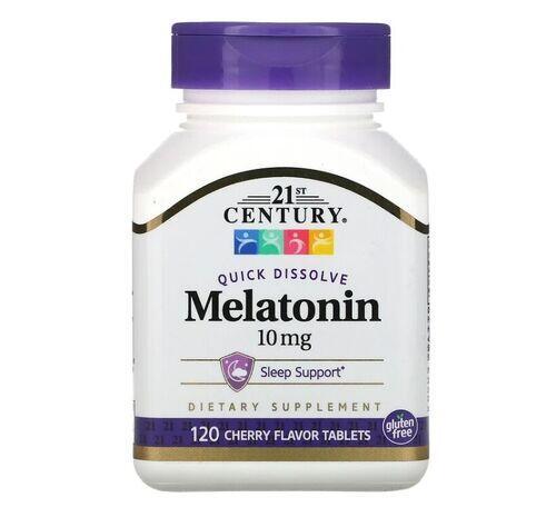 Melatonina 10 mg sublingual sabor cereja - 21st Century - 120 tablets