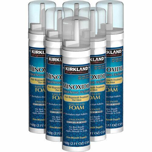 3 x Kirkland Minoxidil 5% Espuma - 3 meses de tratamento - Frete Grátis