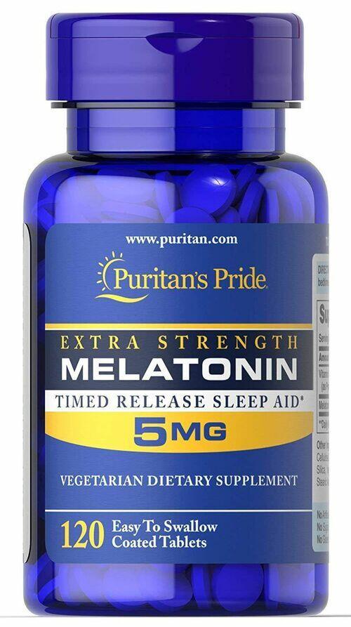 2 x Melatonina 5 mg - Puritan´s Pride - Liberação Gradual - Total 240 comprimidos