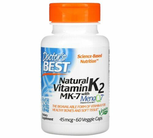 MK-7 Vitamina K2 45 mcg com MenaQ7 - Doctor´s Best - 60 Cápsulas
