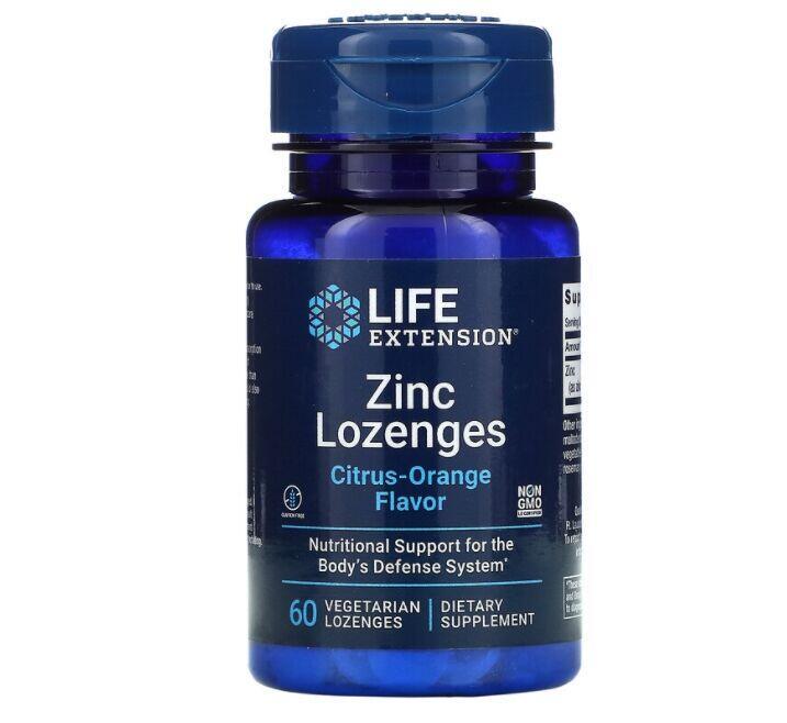 2x Zinco em Pastilhas (Sabor Laranja) - Life Extension - Total 120 pastilhas