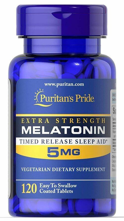 Melatonina 5 mg - Puritan´s Pride - Liberação Gradual - 120 comprimidos