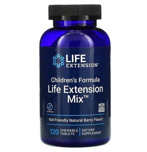 Life Extension Mix - Multivitamínico para Crianças - 120 Pastilhas sabor Frutas Silvestres