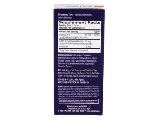 Melatonina 6 mg + 5HTP 50 mg Fórmula Avançada - Natrol - 60 Tablets