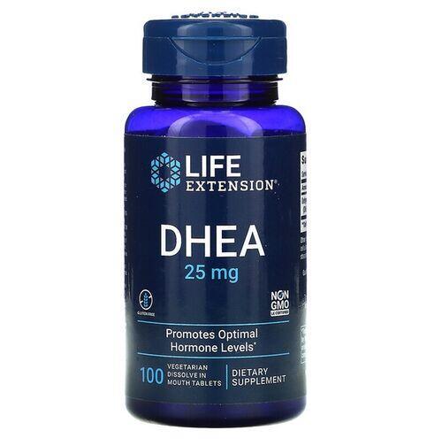 2x DHEA 25 mg Sublingual -  Life Extension - Total 200 comprimidos