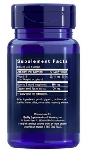 GAMMA-E Tocoferol e Tocotrienol (Vitamina-E) Life Extension 60 Cápsulas (Envio Internacional)