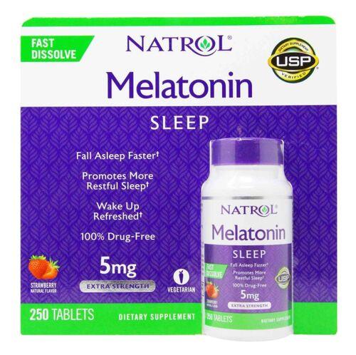 Melatonina 5 mg Fast Dissolve - Natrol - 250 comprimidos sabor Morango