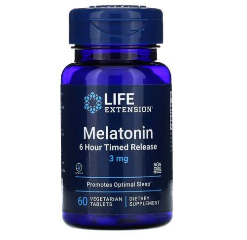 2x Melatonina 3 mg Liberação Gradual (6 horas) - Life Extension - Total 120 tablets