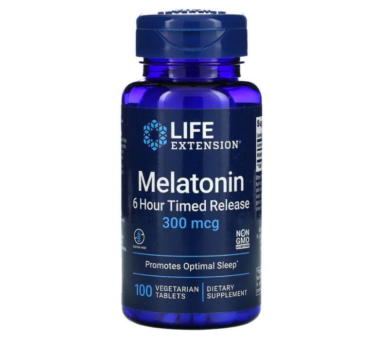 Melatonina 300 mcg - Liberação Gradual - Life Extension - 100 Tablets