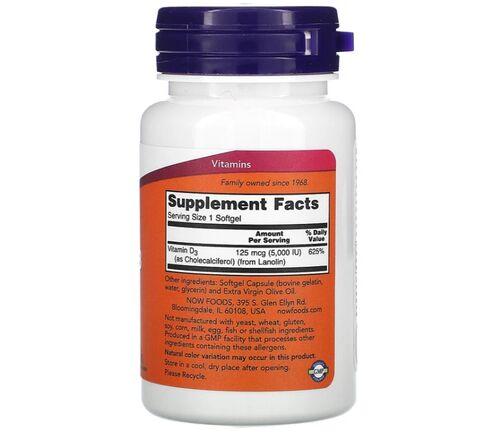 Vitamina D-3 5000 IU - Now Foods - 120 Softgels