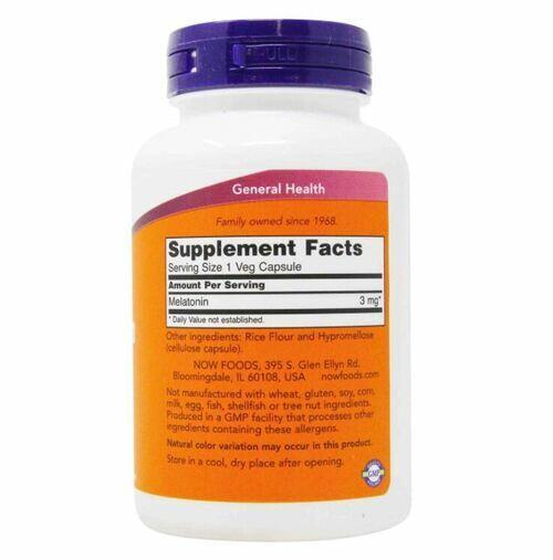 Melatonina 3 mg - Now Foods - 60 cápsulas