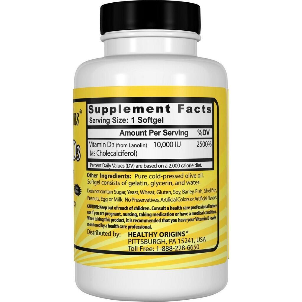 Vitamina D3 10.000 IU - healthy Origins - 120 softgels