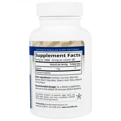 Melatonina 1 mg Sublingual - Nutralife - 240 comprimidos sabor Cereja