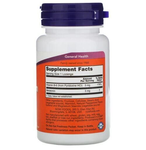 Melatonina 3 mg - Now Foods - 180 Pastilhas