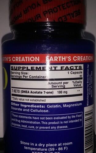 2x 7-Keto DHEA 100 mg - Earth´s Creation - Total 120 cápsulas