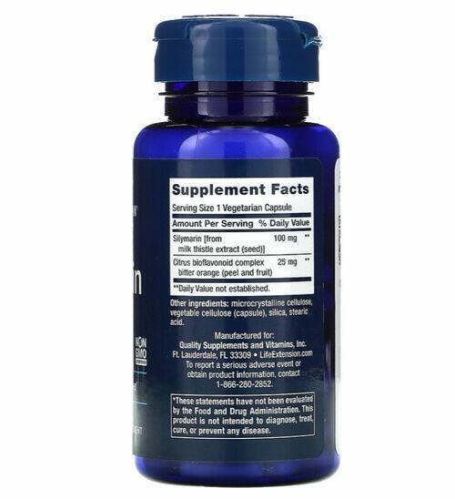 Silymarin (Silimarina) 100 mg - Life Extension - 90 Cápsulas