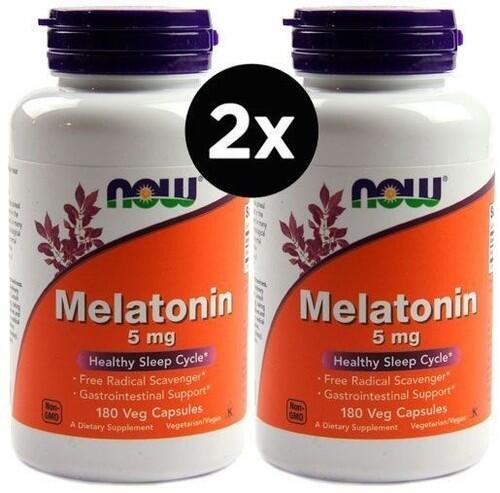2 x  Melatonina 5 mg - Now Foods - Total 360 Cápsulas