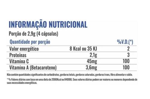 Colágeno Hidrolisado C/ Betacaroteno + Vitamina C - Profit Labs - 120 Cápsulas
