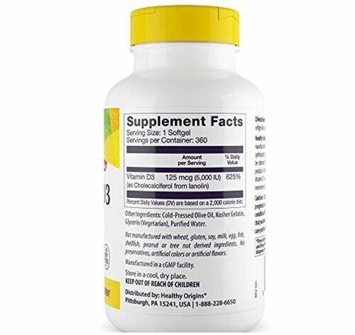 Vitamina D-3 5000 UI - Healthy Origins - 360 Softgels