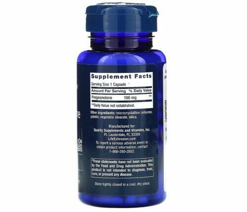2x Pregnenolona 100 mg - Life Extension - Total 200 Cápsulas