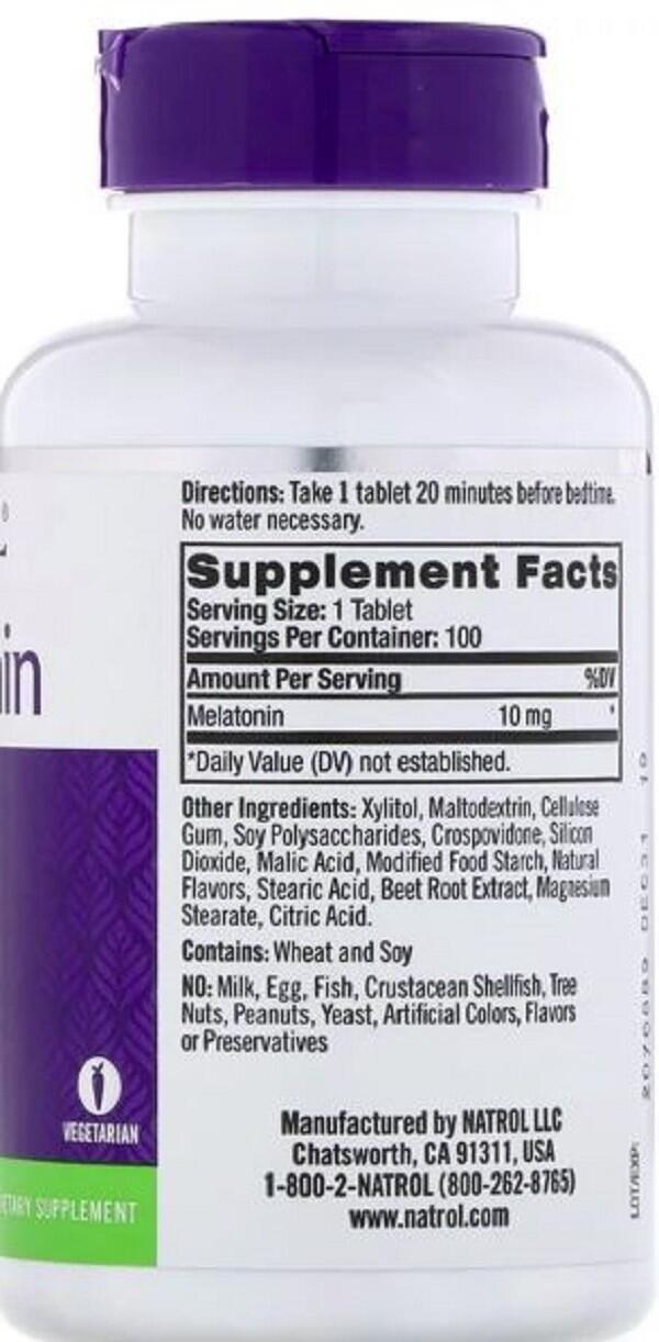 2 x Melatonina 10 mg Fast Dissolve sublingual sabor CITRUS - Natrol - Total 200 comprimidos