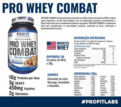 Kit Whey Protey Combat + BCAA 1 g + Coqueteleira - Profit Labs