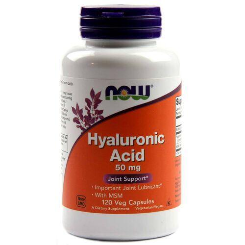 Ácido Hialurônico 50 mg + MSM - Now Foods - 120 cápsulas