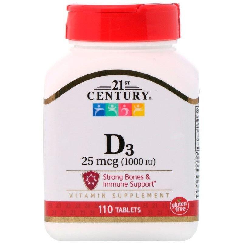 2 x Vitamina D3 1000 UI - 21st Century - Total 220 tablets