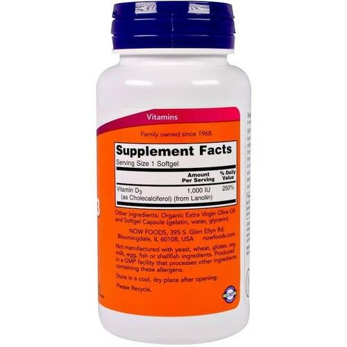 Vitamina D-3 1000 IU - Now Foods - 180 Softgels