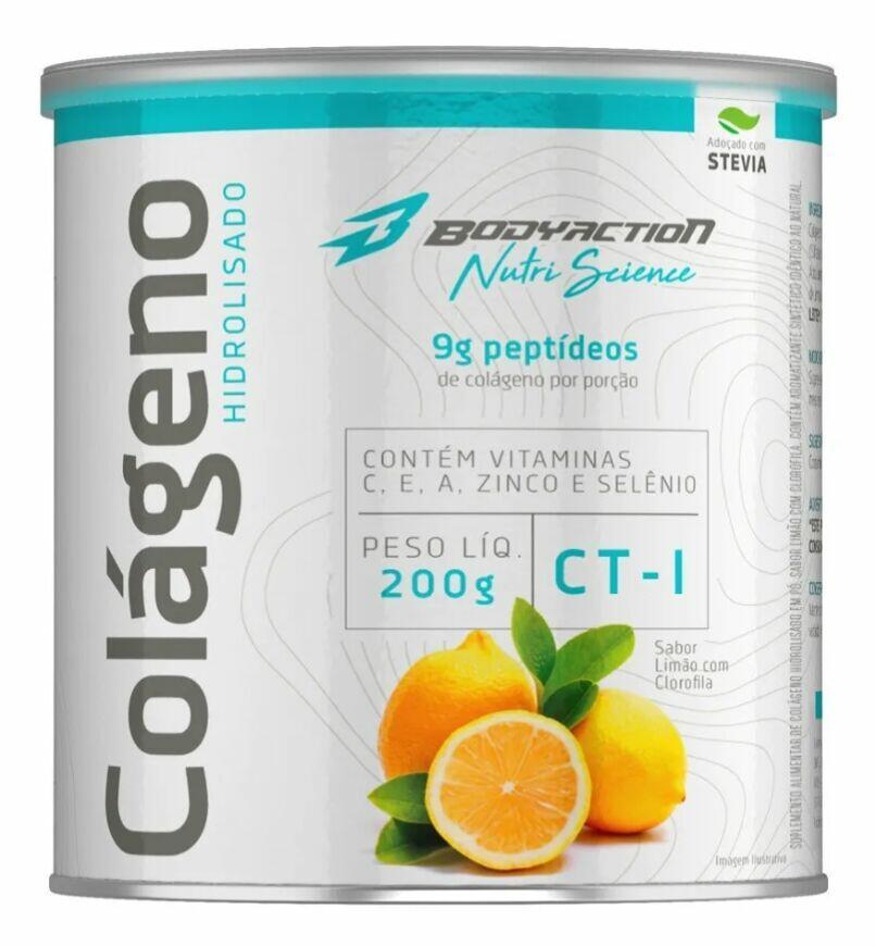 Colágeno Hidrolisado 200 g - Body Action - Sabor Limão com Clorofila