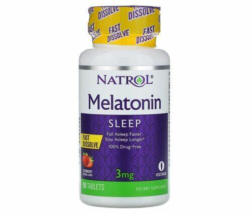 2x Melatonina 3 mg Fast Dissolve sublingual sabor morango - Natrol - Total 180 Comprimidos