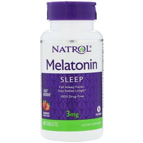 Melatonina 3 mg Fast Dissolve sabor morango - Natrol - 90 Comprimidos