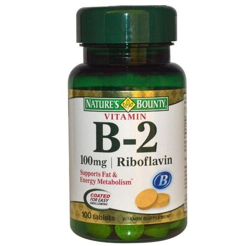 Vitamina B-2 (Riboflavina)  100 mg - Nature´s Bounty - 100 Cápsulas