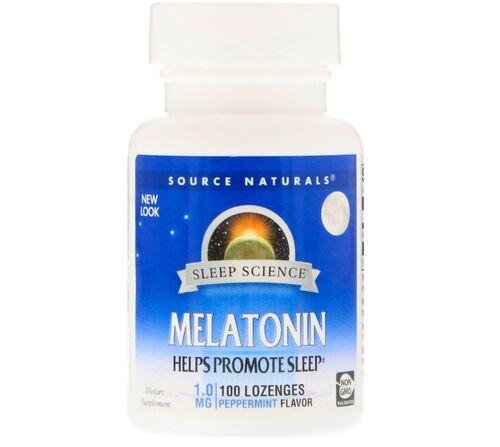Melatonina 1 mg sublingual sabor Hortelã - Source Naturals - 100 comprimidos