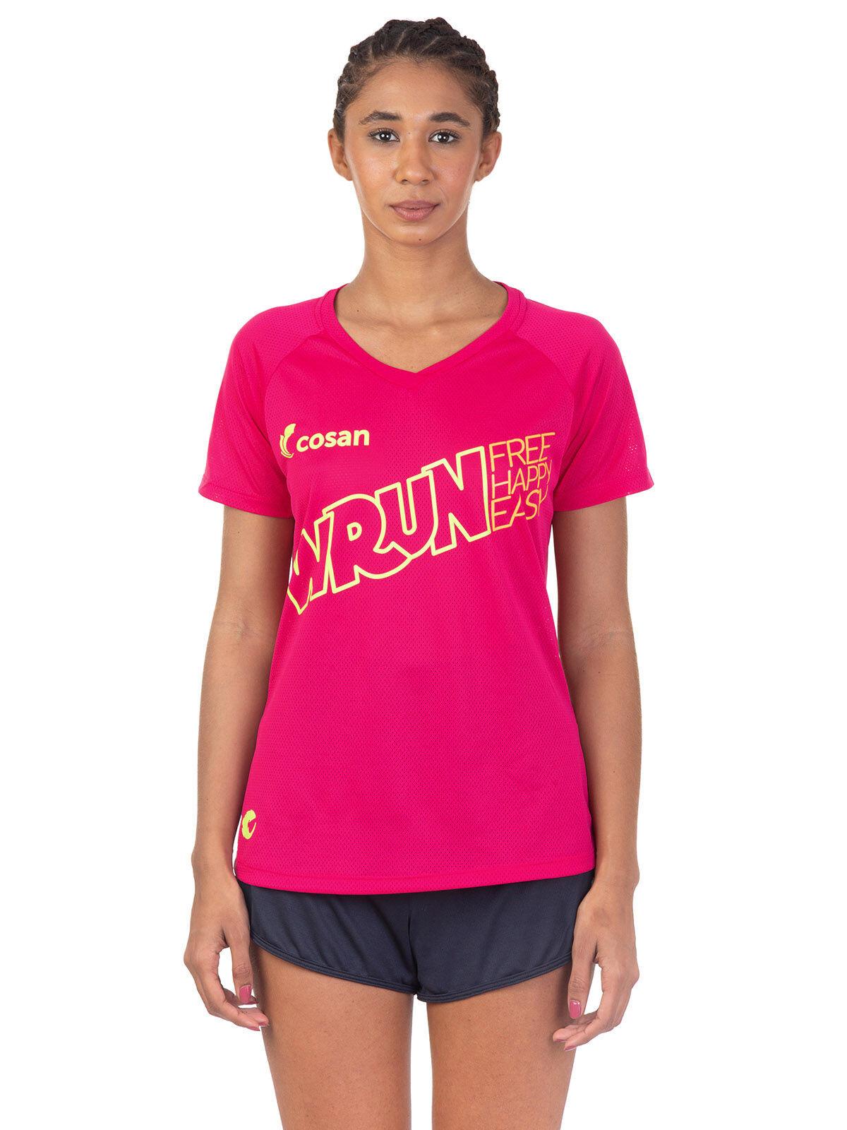 Camiseta W Run Free Happy Manga Curta Feminina
