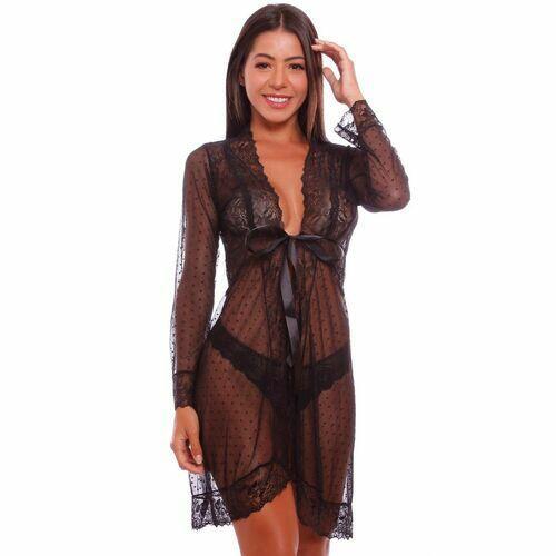 Robe Sensual Lovely Curto com Detalhes em Renda