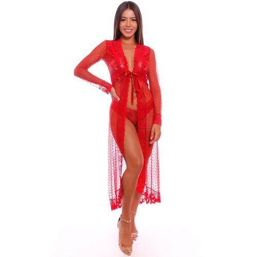Robe Sensual Lovely Longo com Detalhes em Renda
