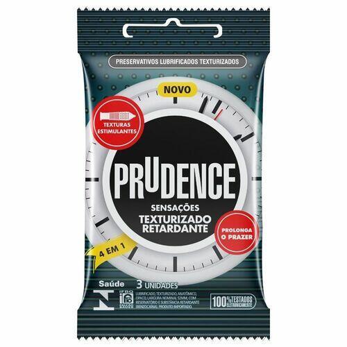 Preservativo 4x1 Sensação Texturizado Retardante - Prudence - 3 unid