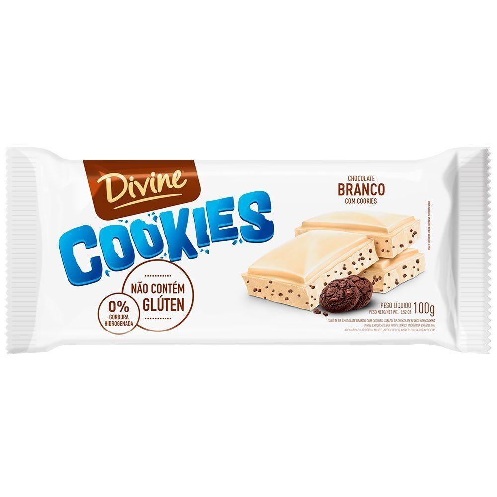 Chocolate Sem Glúten Branco com Cookies Divine 100g