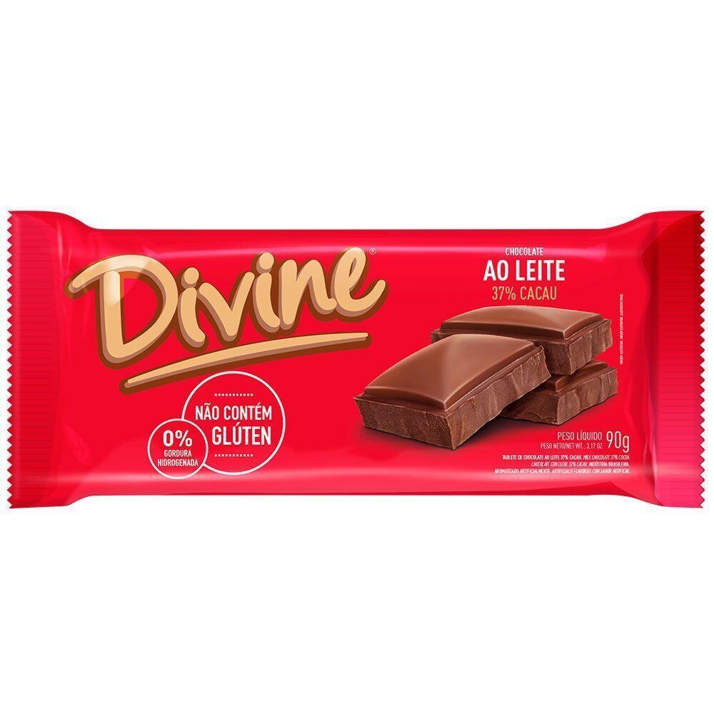 Chocolate Sem Glúten ao Leite 37% Cacau Divine 90g