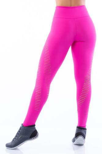Calça Legging Corte a Laser Poliamida Rosa