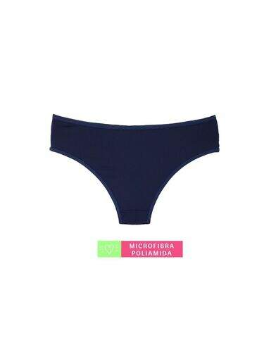 Calcinha Microfibra Cintura Média com Detalhe Marinho