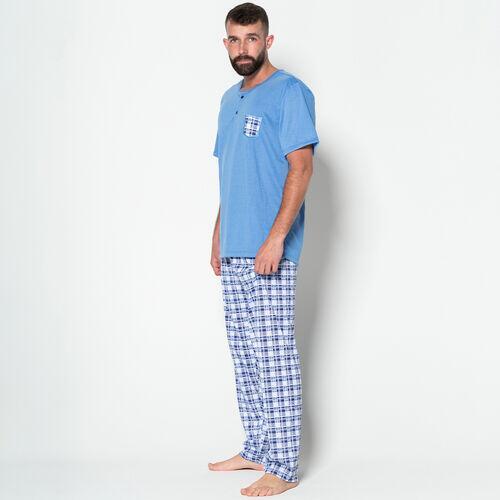 Pijama Masculino Adulto Blusa Manga Curta Lisa Calça Longa Comprida Estampada