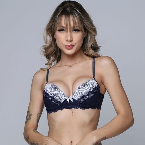 Sutiã Feminino Com Bojo Renda Bicolor Sensual