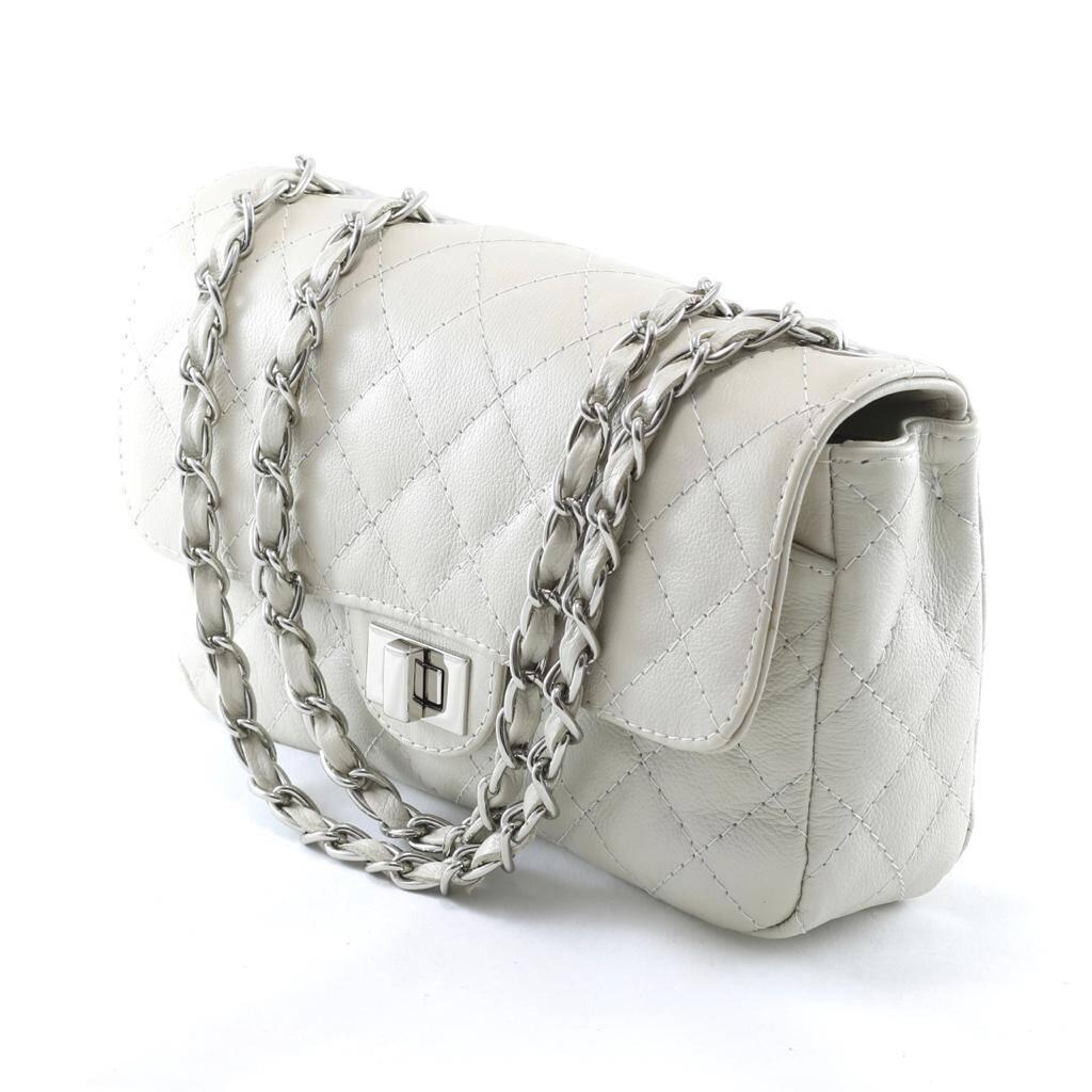 BOLSA VERSALHES MÉDIA Bolsa de corrente em couro legítimo off-white matelassê tradicional