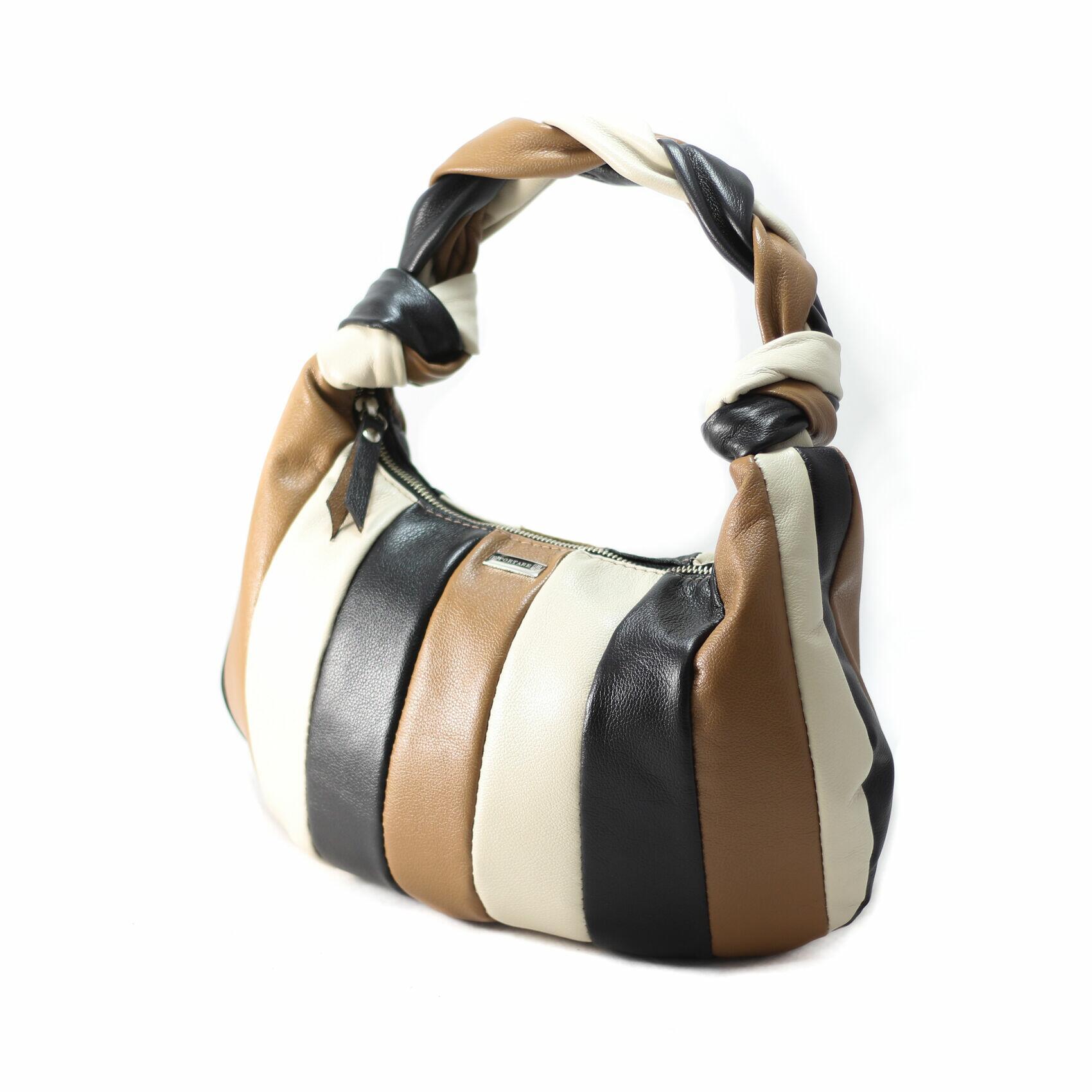 CAPRI Bolsa maleável em couro legítimo tricolor caramelo, preta e off white