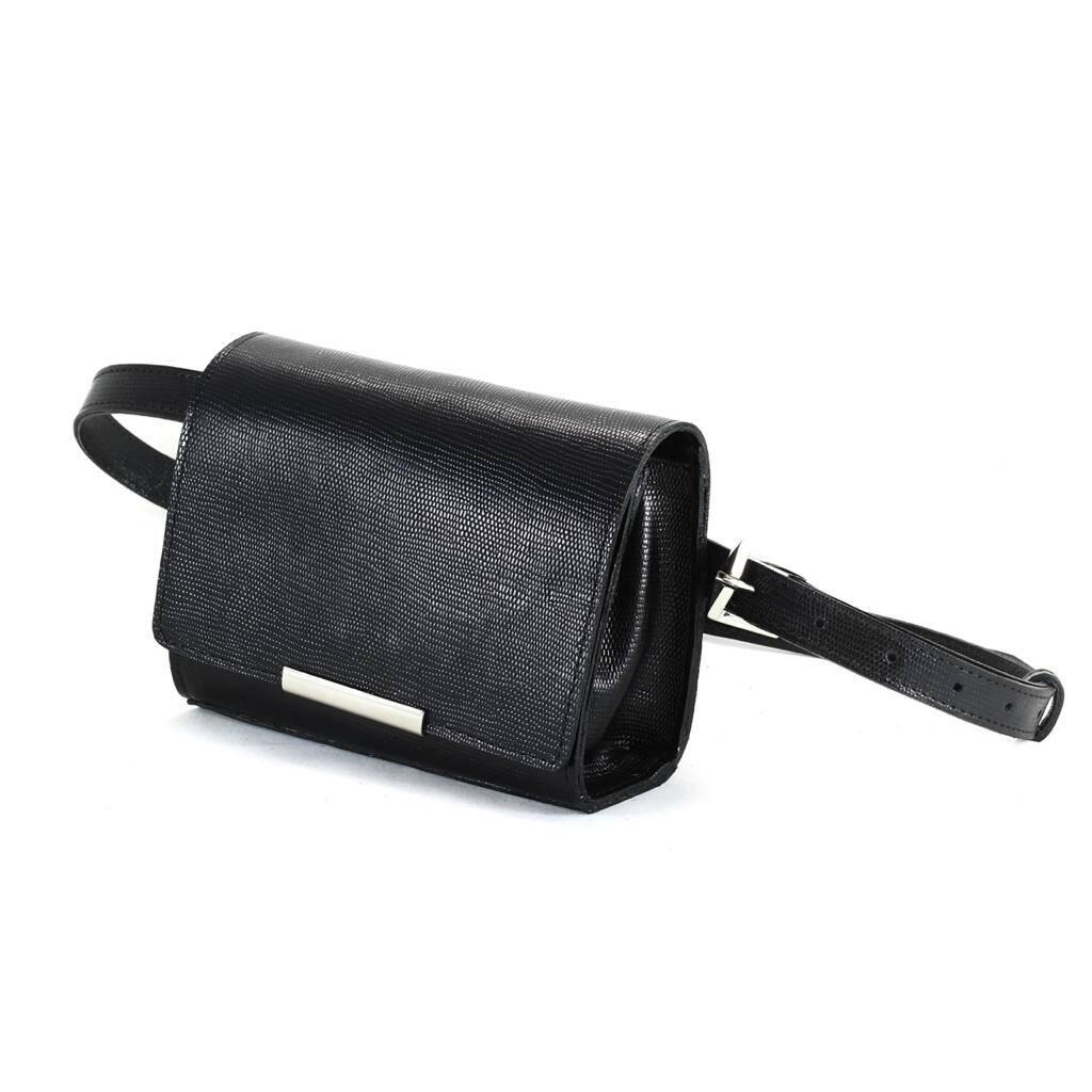 BOLSA MÔNACO Bolsa pochete couro legítimo clutch com corrente preta