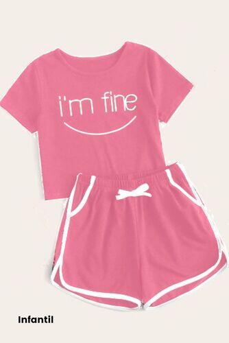 Pijama de Malha Manga Curta e Short - I'm Fine Infantil
